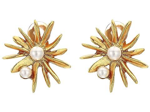 Oscar de la Renta Classic Pearl Starburst Button Clip Earrings