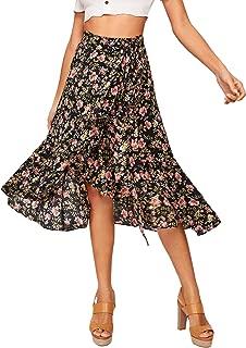 Women's Boho Floral Print Tie Up High Waist Ruffle Trim Warp A-Line Midi Skirt Small Multicolor