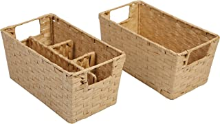 SLPR Paper Rope Wicker Storage Basket (Set of 2)   Rustic Farmhouse Country Style Bin Organizer for Kitchen Office Supplies Dining Room Bedroom