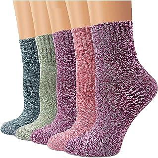 YZKKE 5 Pairs Womens Knit Warm Casual Wool Crew Winter Socks Gifts
