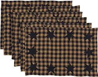 VHC Brands Classic Country Primitive Tabletop & Kitchen - Star Blue Placemat Set of 6, 12