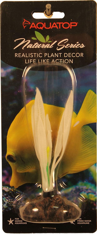 Aquatop Aquatic Supplies 003644 Silicone Aquarium Plant Amazon Sword White, 4.5 in