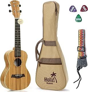 Tenor Ukulele Deluxe Series by Hola! Music (Model HM-127ZW+), Bundle Includes: 27 Inch Zebrawood Ukulele with Aquila Nylgut Strings Installed, Padded Gig Bag, Strap and Picks