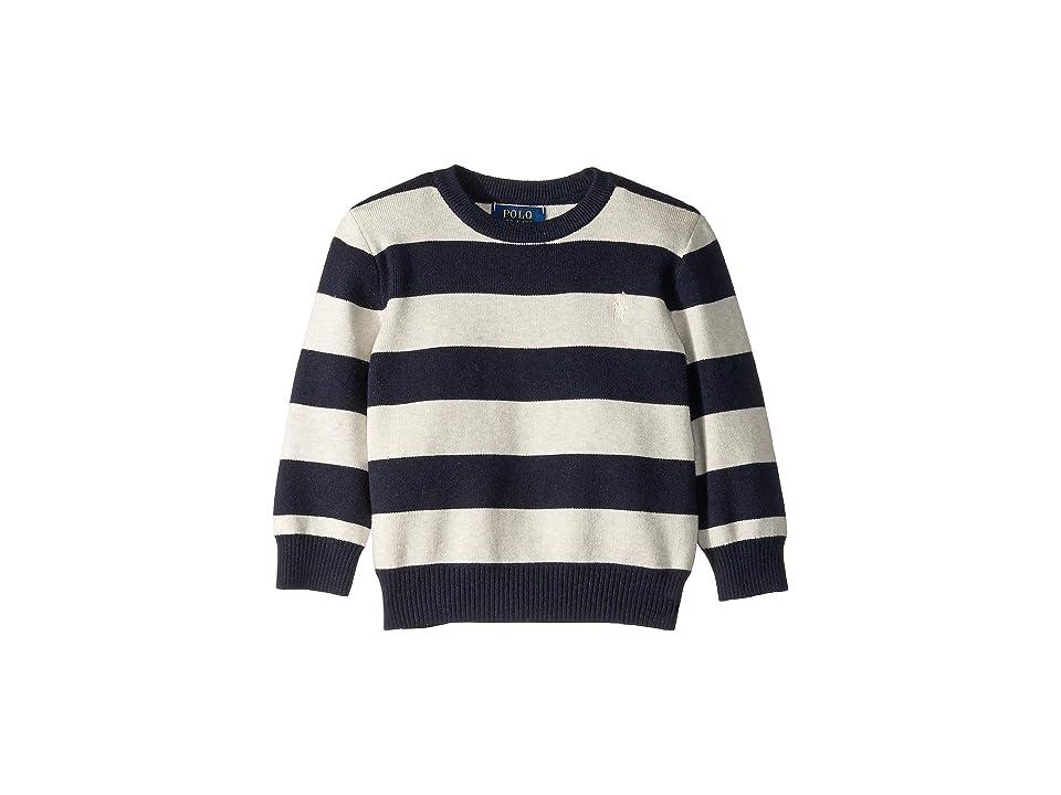 Polo Ralph Lauren Kids Striped Cotton Sweater (Toddler) (Navy Heather Multi) Boy