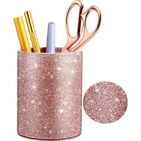 PU Glitter Pen Holder Pencil Cup Rose Gold Shiny for Women Girls, Luxury Makeup Brush Holder Pu Leather Organizer Cup Gift for Desk Office Classroom Home