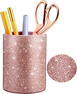 PU Glitter Pen Holder Pencil Cup Rose Gold Shiny for Women Girls, Luxury Makeup Brush Holder Pu Leather Organizer Cup Desk...
