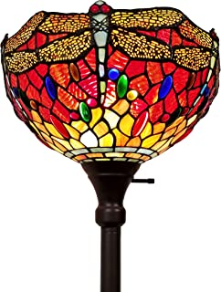Amora Lighting Tiffany Style Floor Lamp Torchiere Torch Standing 72