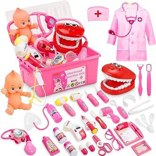 Fivejoy 43 Pièces Malette Docteur Jouet, Déguisement De Mallette Docteur Enfant Costume Cosplay Avoir Poupée Et Stéth...