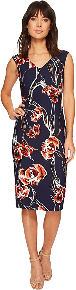 Ivanka Trump - Floral Cap Sleeve Midi Compression Dress