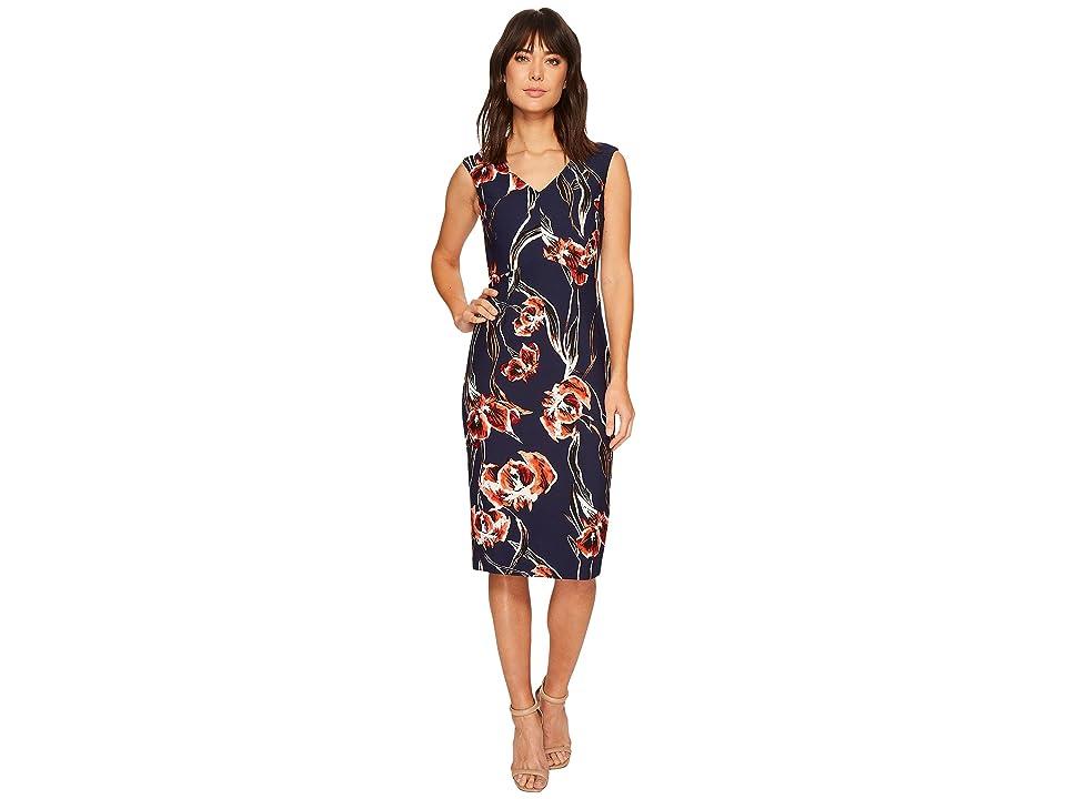 Ivanka Trump Floral Cap Sleeve Midi Compression Dress (Tiger Lily/Navy/Cardinal) Women