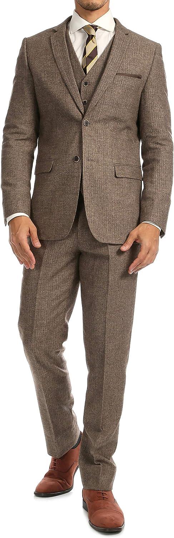 Ferrecci Men's York Herringbone Slim Fit 3 Piece Suit