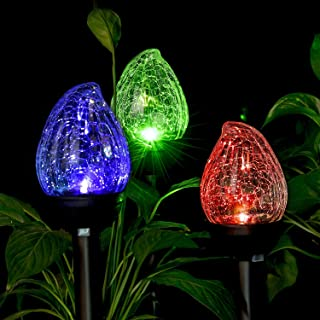 GIGALUMI Solar Lights Outdoor, Cracked Glass Flame Shaped Dual LED Garden Lights, Landscape/Pathway Lights for Path, Patio, Yard-Color Changing and White-3 Pack