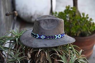 Sombrero de Gamuza artesanal gris L con arte azul