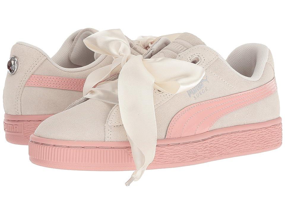 Puma Kids Suede Heart Jewel (Big Kid) (Whisper White/Peach Beige) Girls Shoes