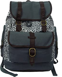 K-Cliffs Grey Swirl Canvas Backpack | Fits 15-inch Laptop | 18