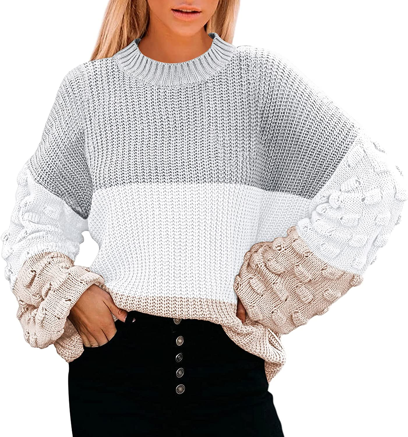 Fixmatti Women Crewneck Long Sleeve Cable Chunky Knit Pullover Sweaters Tops