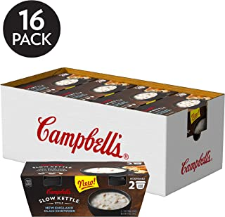 Campbell's Slow Kettle Style Microwave Soup, New England Clam Chowder, Lunch Snack, 7 Ounce Cup (2 pack)