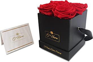 O'Hara Des Fleur Preserved Rose, Real Flowers, Handmade Flowers in a Box | Natural Fragrance, Color, and Style Up to 1 Year | Best Gift for Her, Birthday, Anniversary, (Red/Black Box)