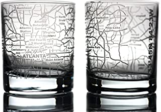 Greenline Goods Whiskey Glasses - 10 Oz Tumbler Gift Set for Atlanta lovers, Etched with Atlanta Map | Old Fashioned Rocks Glass - Set of 2
