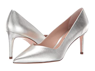Stuart Weitzman Anny 70mm Pointy Toe Pump (Silver Metallic) Women
