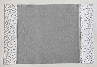 R Home Cotton Lurex Woven Polka Dot Print Table Placemats, Set of 4 Place Mats, 13 x 19 Inch, Silver
