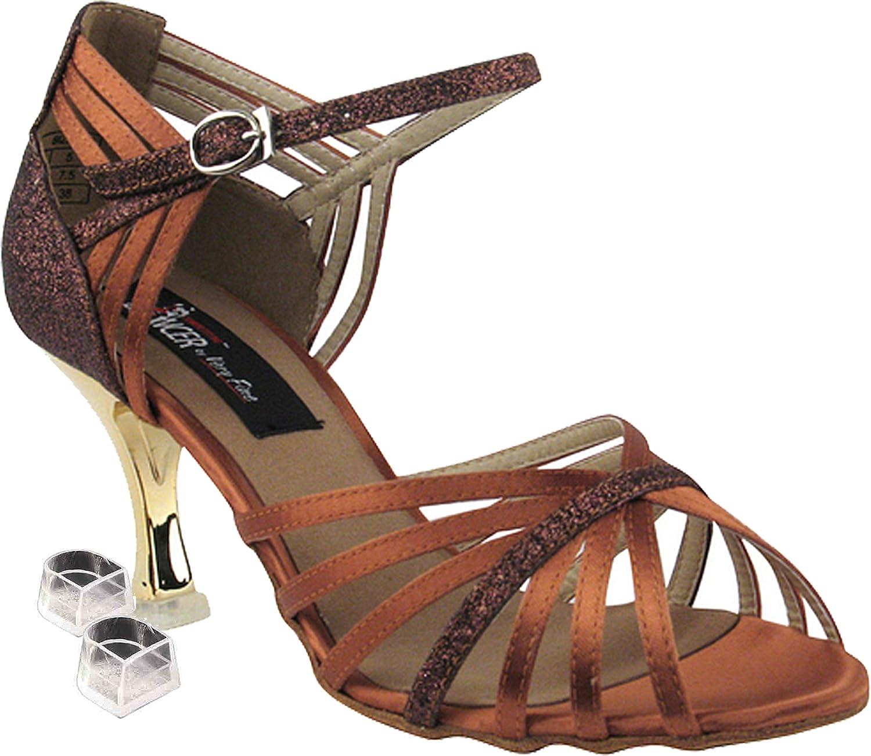 Very Fine Women's Salsa Ballroom Tango Latin Dance Shoes Style CD3012 Bundle with Plastic Dance Shoe Heel Protectors, Dark Tan Satin & Copper Stardust 10 M US Heel 3 Inch