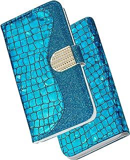 Huphant Compatible for Schutzhülle Redmi Note 7 Pro Hülle Glitzer Strass Geschäft Wallet Flip Hülle Xiaomi Redmi Note 7 Pro Brieftasche Handyhülle 3D Klapphülle Ständer Kartenfächer Magnet Blau