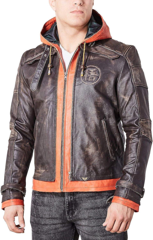 Luca Designs - Mens Goku Brown Hood Goatskin Leather Jacket