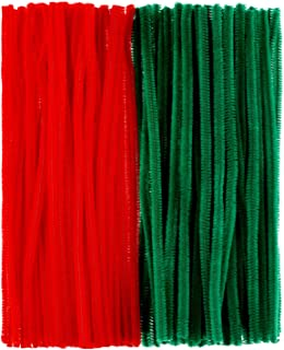 BBTO 300 Pieces Christmas Pipe Cleaners Art Crafts Chenille Stems for DIY Craft Projects Decoration Supplies, 6 mm x 12 Inch (Red and Green)