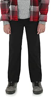 Wrangler Boys Slim Straight Premium Pants with Adjust-to-Fit Waistband (Black)