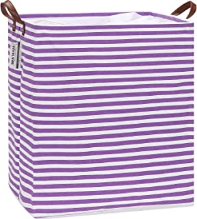 Sea Team Extra Large Size Canvas Fabric Laundry Hamper with Handles, Collapsible Rectangular Storage Basket, Clothes Toys Bin for Kid's Room, 22 Inches Tall, Waterproof Inner, Purple Stripe
