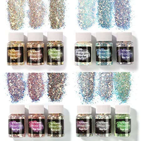 LET'S RESIN Opal Chunky Glitter, 12 Color Mixology Craft Glitter Powder for Resin/Tumblers/Slime, Iridescent Chunky Glitter Sequins Festival Decor(Each 0.35oz)