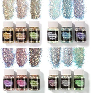 LET'S RESIN Opal Chunky Glitter, 12 Color Mixology Craft Glitter Powder for Resin/Tumblers/Slime, Iridescent Chunky Glitte...