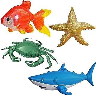 Jet Creations Inflatable Ocean Life Sea Underwater Assorted Bathtub Toys Educational, OCEAN02, 4 Count