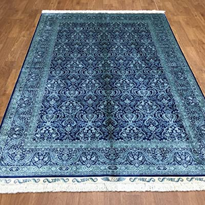 Yuchen New 5.5x8 Blue All-over Pattern Kashmir Handknot Silk Carpet Handmade