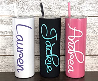 Personalized 20 oz Stainless Steel Skinny Tumbler with Custom Monogram Vinyl Decal by Avito - Includes Straw and Lid - Bri...