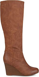 Brinley Co. Womens Regular and Wide Calf Round Toe Faux Leather Mid-Calf Wedge Boots Brown, 7.5 Regular US