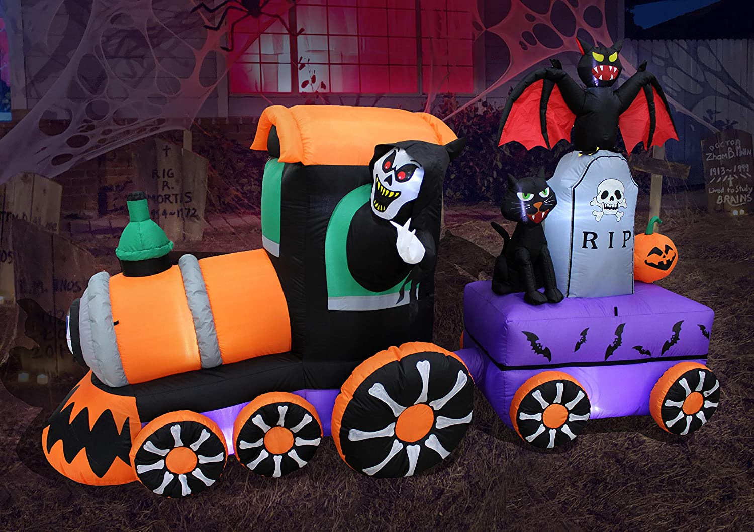8 Foot Long Lighted Safety and Max 66% OFF trust Halloween Reaper Inflatable Train Ride Grim