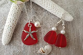 "product image for Handmade in Hawaii, Red""January Birthstone"" sea glass Necklace+Earrings Set, Starfish Charm, Freshwater Pearl, (Hawaii Gift Wrapped, Customizable Gift Message)"