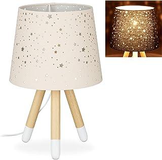 Relaxdays 10028043_113 Lampe de Chevet veilleuse pour Enfants,garçons et Filles,E14. Abat-Jour Rond, 40cm de Hauteur,Rose