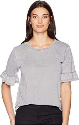 Bowery Burnout Ruffle Short Sleeve Tee