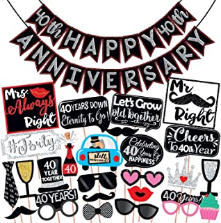 Wobbox 40th Anniversary Photo Booth Party Props DIY Kit with 40th Anniversary Bunting Banner, Red Gliter & Black , Anniver...