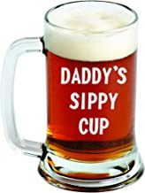 Daddy's Sippy Cup - Engraved Beer Mug - 16oz - Clear Glass - Father's Day - Funny Gifts for Men and Women by Sandblast Creations