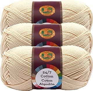 (3 Pack) Lion Brand Yarn 761-098 24-7 Cotton Yarn, Ecru