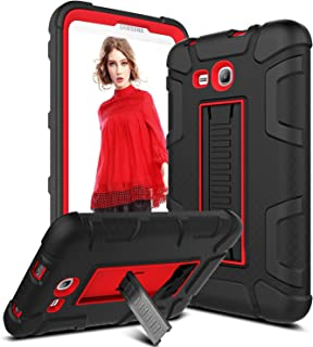 Samsung Galaxy Tab Lite E 7.0 Case, Galaxy Tab 3 Lite 7.0 Case, Venoro [Kickstand Feature] Shockproof Heavy Duty Armor Defender Protective Case Cover for SM-T110 / T111 / T113 (Black/Red)