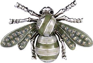 EVER FAITH Rhinestone Crystal Enamel Retro Honey Bee Brooch Pin