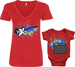 Threadrock Electric Guitar & Amp Infant Bodysuit & Women's V-Neck T-Shirt Set