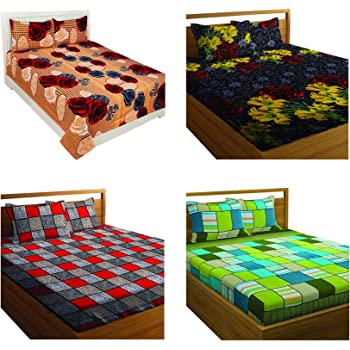 Amrange Glace Cotton King Size Double Bedsheet with 8 Pillow Covers (Multicolour)- Combo Pack of 4