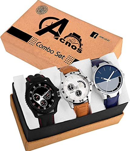 Acnos Chronograph Design Only Multi Analogue Combo Watches For Men Pack Of 3