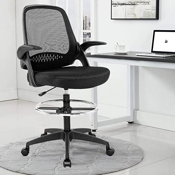 Mesh Drafting Stool Chair Ergonomic Mid Back Chair W Lumbar Support Flip Up Arms Adjustable Height Footrest Tall Standing Swivel Office Chair Counter Chair With Gravity Lockable Wheel For Reception